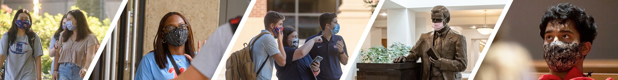 Various UM students wearing masks in academic settings